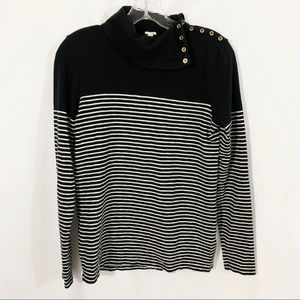 J. Crew | Black & White Striped Long Sleeve Top